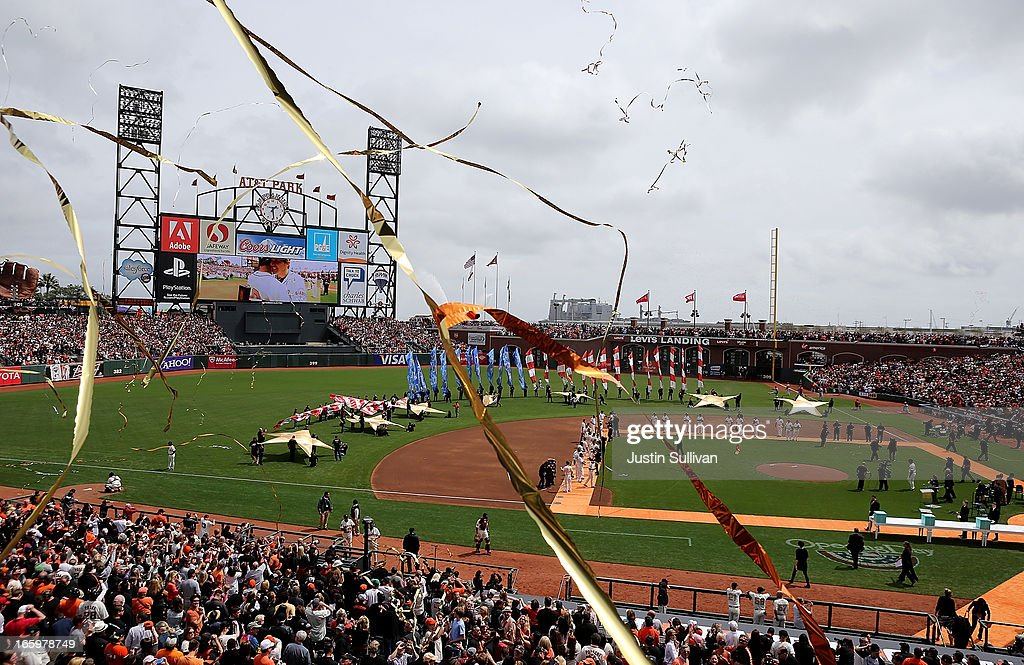 Streamers fall before the start of the game between the San Francisco Giants and the St. Louis Cardinals at AT&T Park on April 7, 2013 in San Francisco, California.