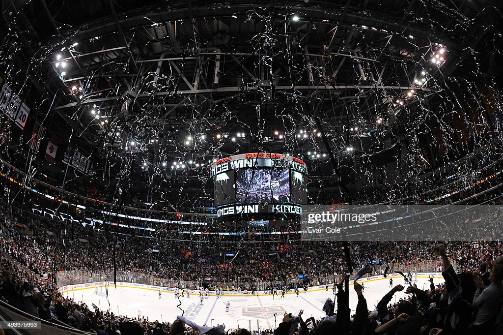 Streamers fall from the rafters after the Los Angeles Kings defeated the Chicago Blackhawks in Game Four of the Western Conference Final during the 2014 Stanley Cup Playoffs at Staples Center on May 26, 2014 in Los Angeles, California.