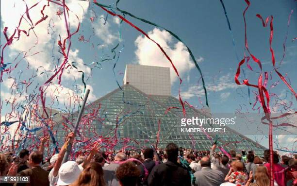 Streamers fill the sky over the Rock and Roll Hall of Fame and Museum 01 September after the opening ceremony Between 20000 and 30000 people attended...
