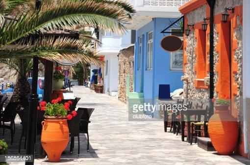 Street along the beach at Mirtos in southern Crete, Greece