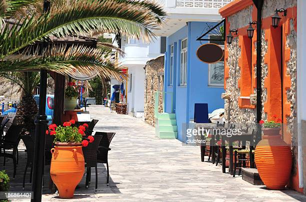 Street along the beach at Mirtos in southern Crete, Greece