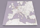 Street and political map of Europe and North Africa. European cities. Political map with the border of the states. Urban areas. Street directory, atlas