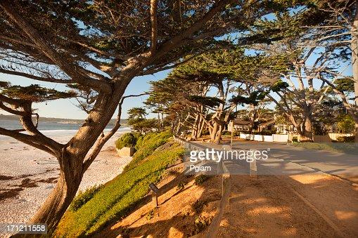 Street and walkway on Carmel Beach in Carmel-by-the-Sea