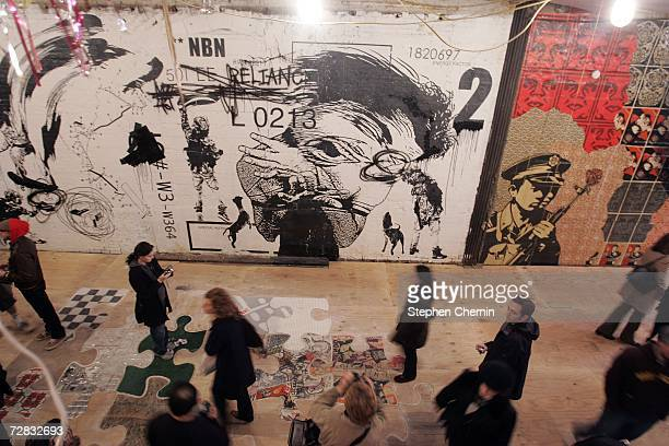 Street art adorns walls at the Wooster on Spring street art exhibit December 15 2006 at 11 Spring Street in New York City Over 50 artists added their...