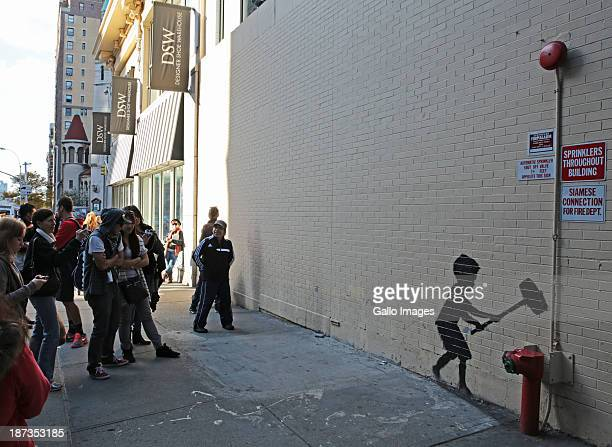 Street art by British street artist Banksy during the month of October 2013 in New York City United States The graffiti artist has completed a...