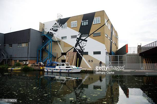 Street art by Graphic Surgery along the River Lea Navigation at Olympic Stadium on August 7 2013 in London England The mural is part of 'The Canals...