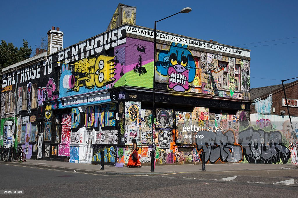 Street art by various artists covers the closed down Lord Napier pub in Hackney Wick East London United Kingdom Street art in the East End of London...