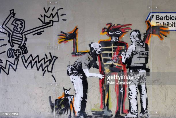 Street art created in September 2017 near the Barbican Centre in London England by Banksy an anonymous Englandbased graffiti artist and political...