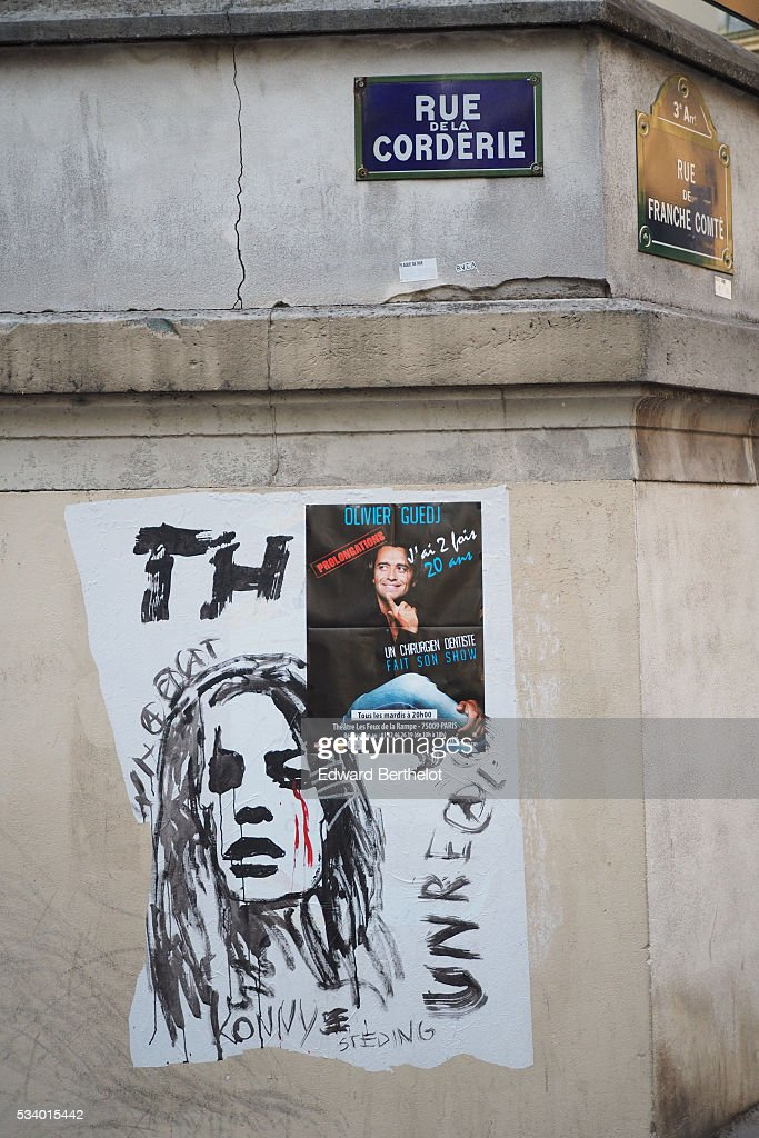 Street art graffiti is seen, in the 3rd quarter of Paris on May 24, 2016 in Paris, France.