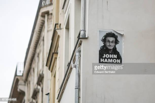 Street art graffiti 'John Hamon' seen on April 22 2017 in Paris France