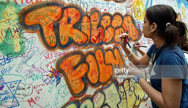 A street artist paints on a wall at the Tribeca Film Festival family festival street fair May 10 2003 in New York City