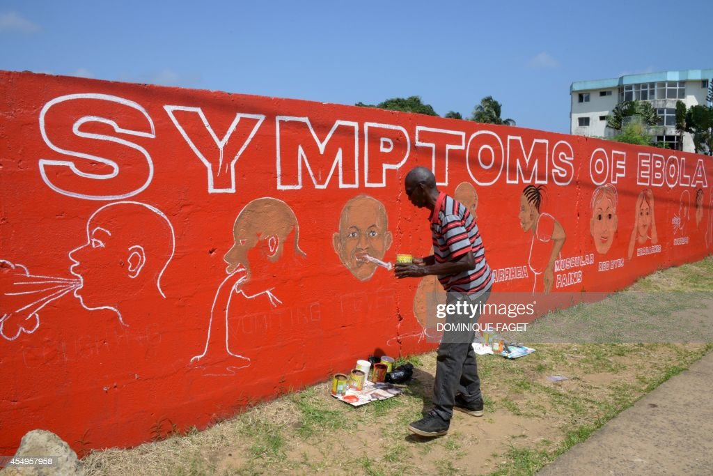 A street artist Stephen Doe paints an educational mural to inform people about the symptoms of the deadly Ebola virus in the Liberian capital...