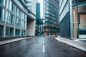 Street at futuristic office buildings area in London