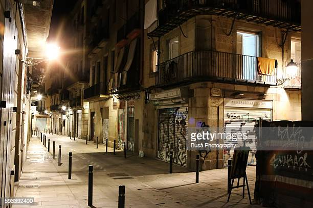 Street at night in El Born, a district near the Gothic Quarter, in Barcelona, Spain