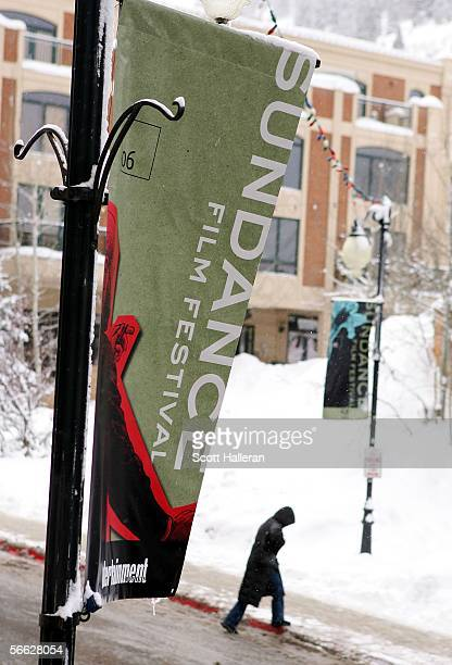 A street banner is seen during the 2006 Sundance Film Festival on January 19 2006 in Park City Utah