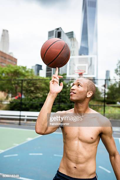 street basketball player on the court in new york city