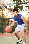 Street basketball player on the court, portrait