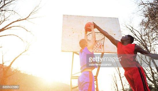 Street basketball players
