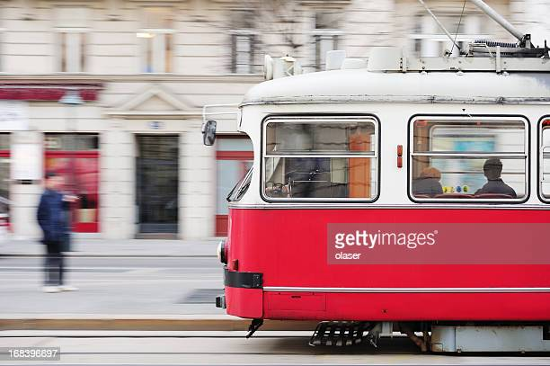 street car, tram, panning blurred background
