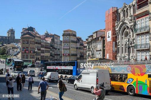street clerigos in porto portugal : Stock Photo