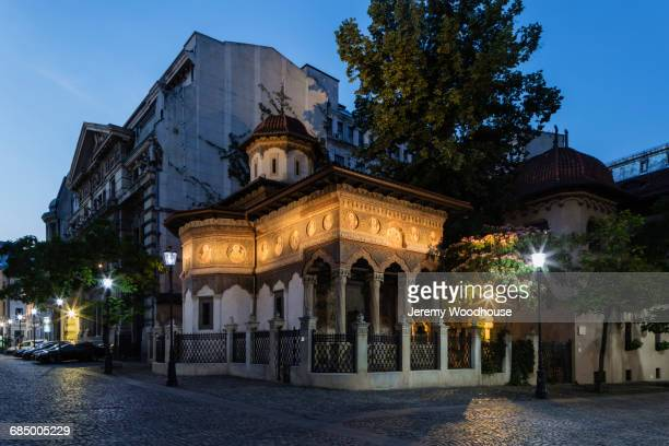 Street corner at night, Bucharest, Romania