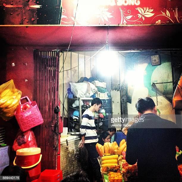 Street food being served in Hanoi Vietnam
