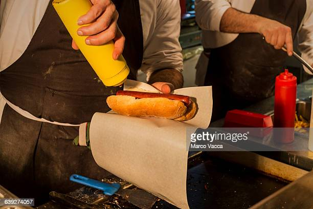 street food garnishing  hot dog