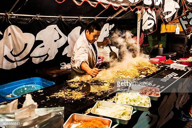 Street food stall at Oeshiki festival Tokyo Japan