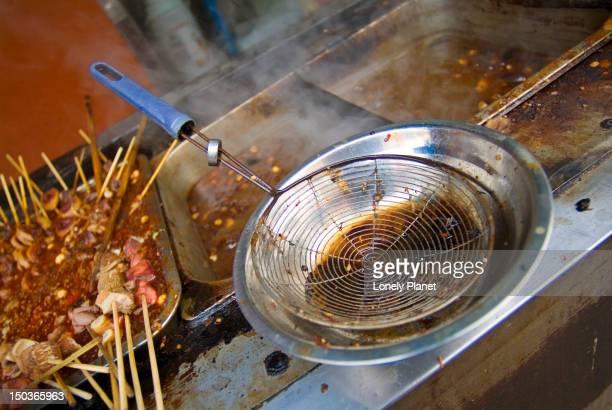 Street food stall pots.