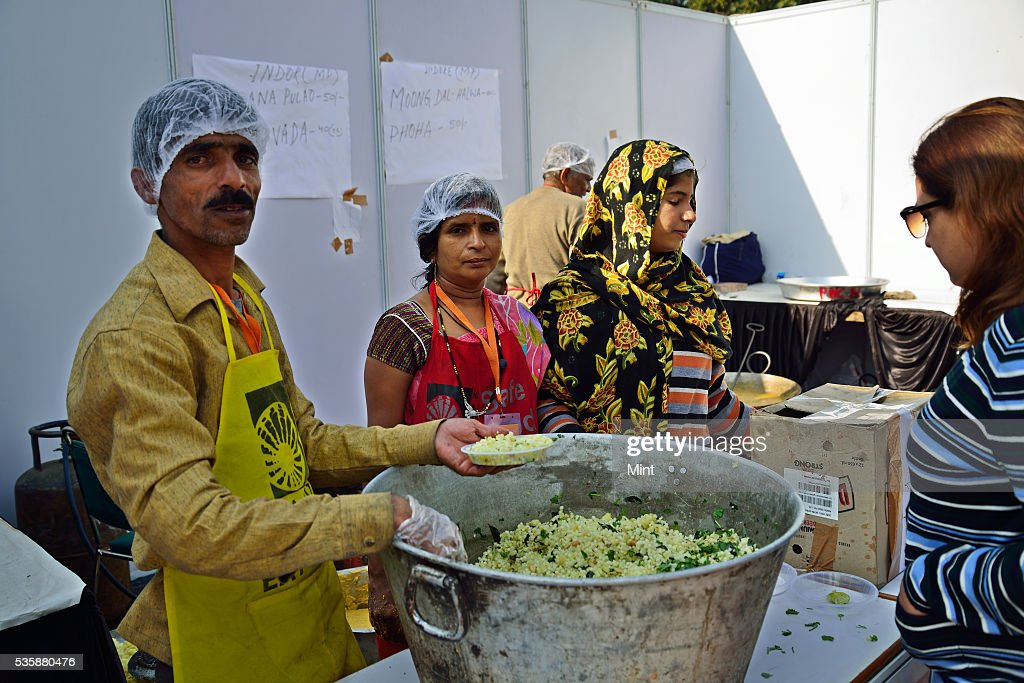 Street food vendor from Indore at National Street Food Festival on December 14, 2015 in New Delhi, India.