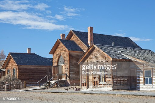 Street in ghost town, Bannack, Montana, USA : Stock Photo