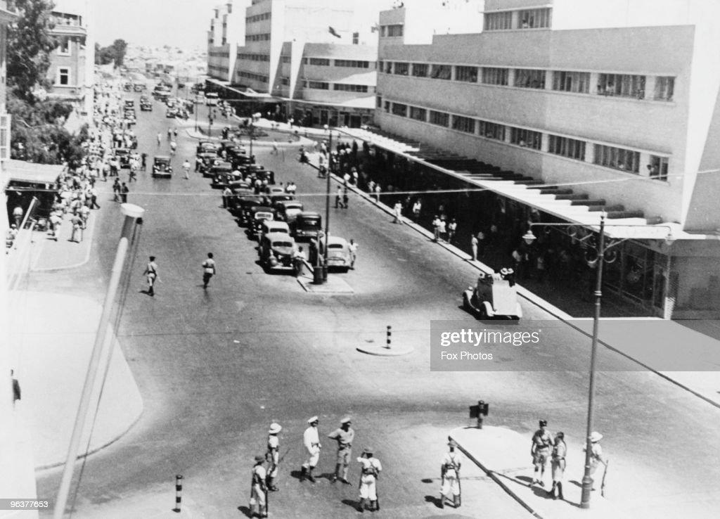 A street in Haifa, in British Mandate Palestine, following a terrorist bombing, 1938.