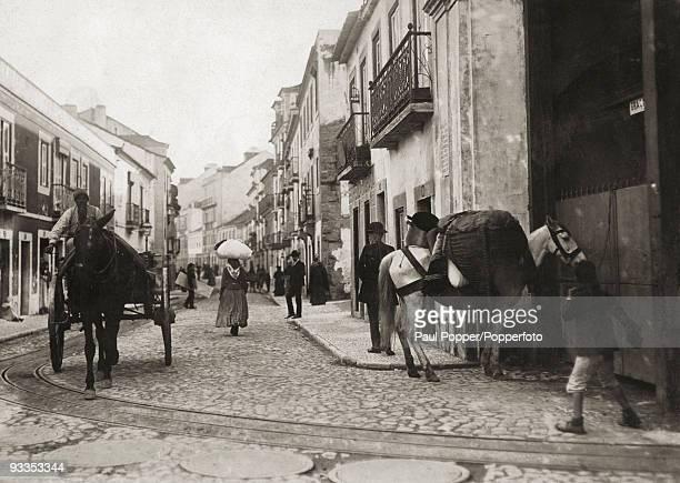 A street in Lisbon Portugal circa 1900