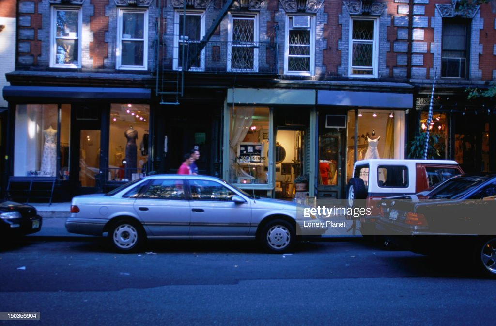 A street in the East Village, famous for interesting boutiques and second hand shops, all natural products and varied world cuisine. : Stock Photo