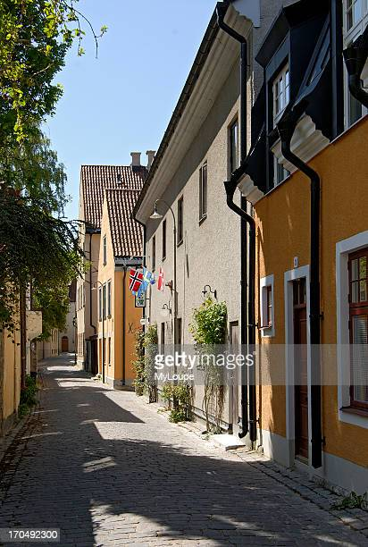 Street in the medieval historic harbor town of Visby on the Island of Gotland in Sweden In the foreground you can see some nicely restored old...