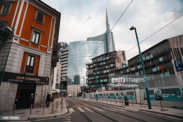 Street in the Porta Nuova district of Milan, near Porta Garibaldi railway station, Italy