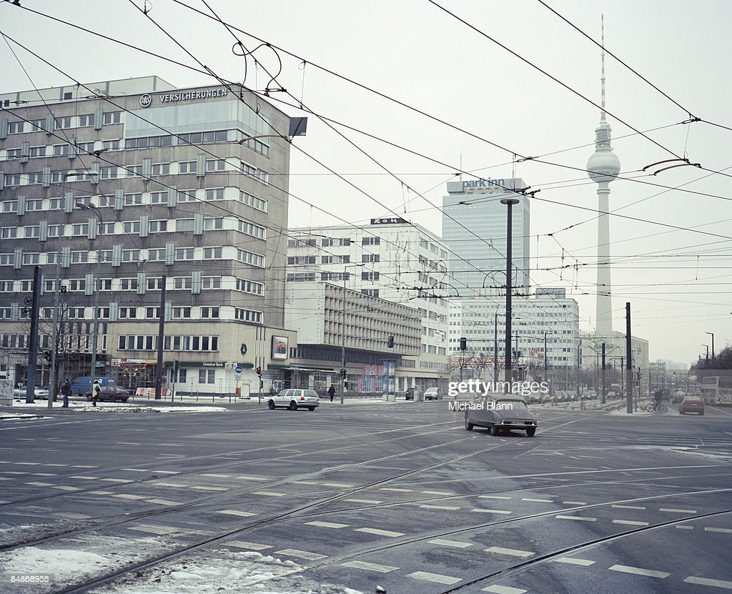 Street Intersection in Berlin with the Fernsehturm : Stock Photo