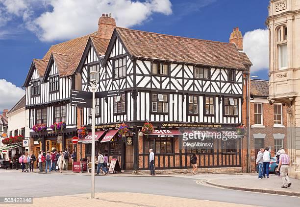 Street Intersection in Historic Center of Stratford-upon-Avon, Warwickshire, England, UK.