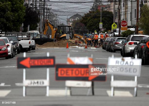 A street is blocked off for repairs on July 12 2017 in San Francisco California According to a report by WalletHub roads in San Francisco Oakland and...