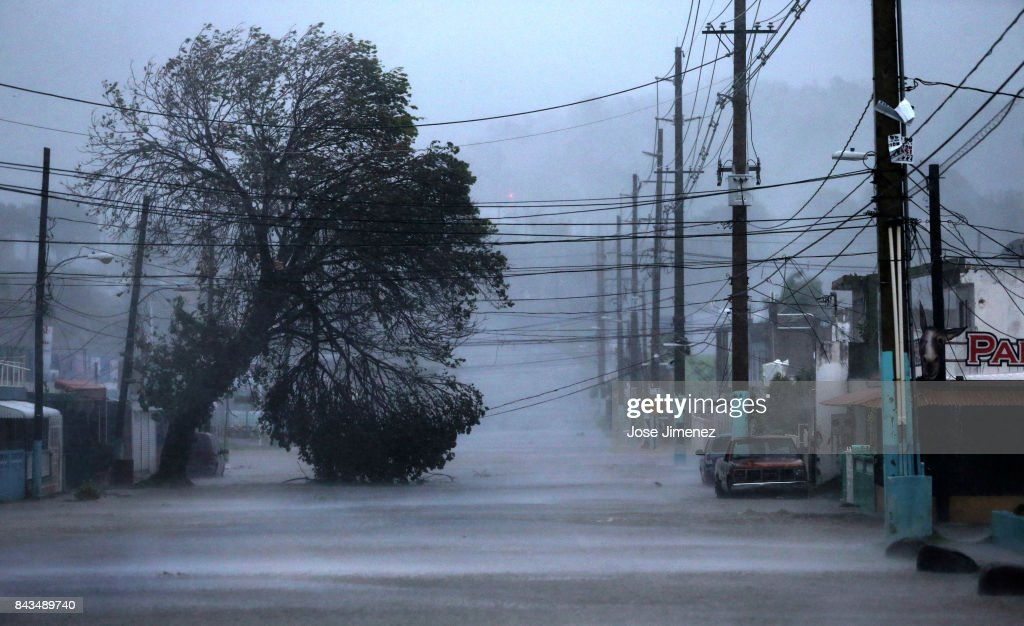 A street is flooded during the passing of Hurricane Irma on September 6, 2017 in Fajardo, Puerto Rico. The category 5 storm is expected to pass over Puerto Rico and the Virgin Islands today, and make landfall in Florida by the weekend.