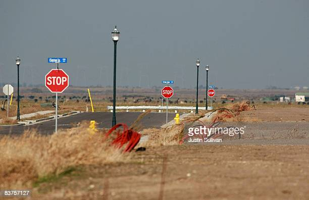 A street is seen empty after construction was halted at a 750 home housing development November 19 2008 in Rio Vista California The Northern...