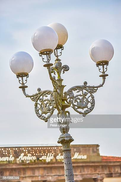 Street lamps on the streets of Lucca,Italy