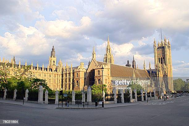 Street level view of Houses of Parliament in London, England.