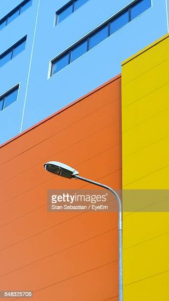 Street Light In Front Of Colorful Building