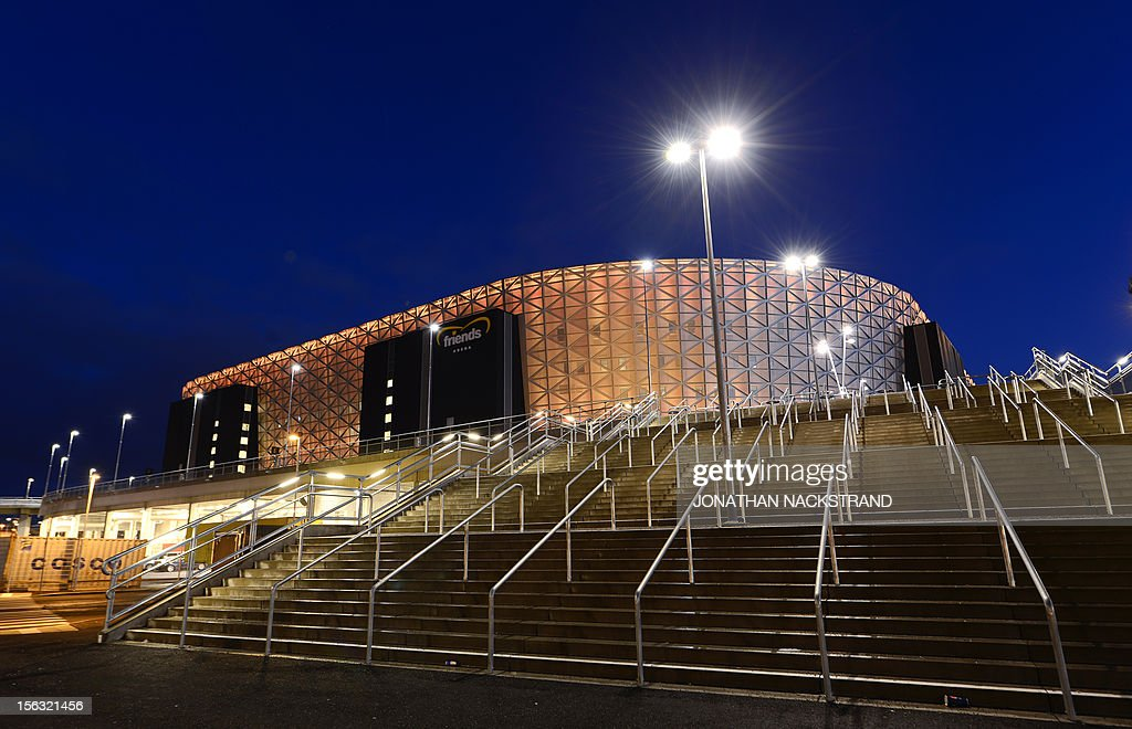 Street lights illuminate the 'Friends Arena', the new stadium of Sweden's national football team in Stockholm's Solna district, on November 13, 2012.