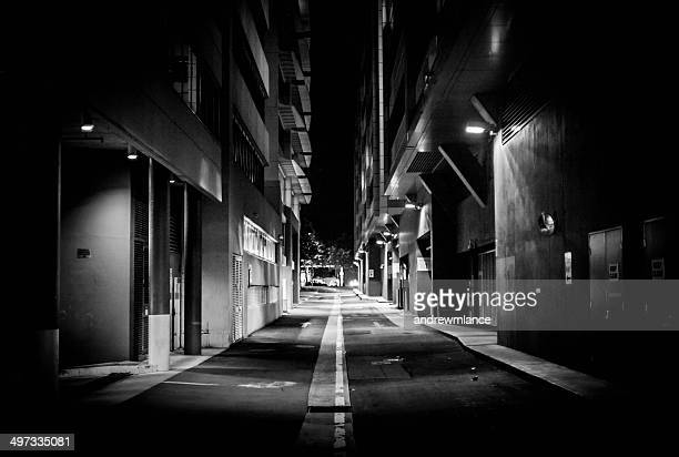 Street lights illuminating an alley, Acton, Canberra, Australia