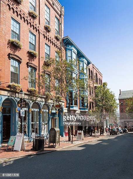 Street Lined with Stores and Restaurants in Portland, Maine, USA.