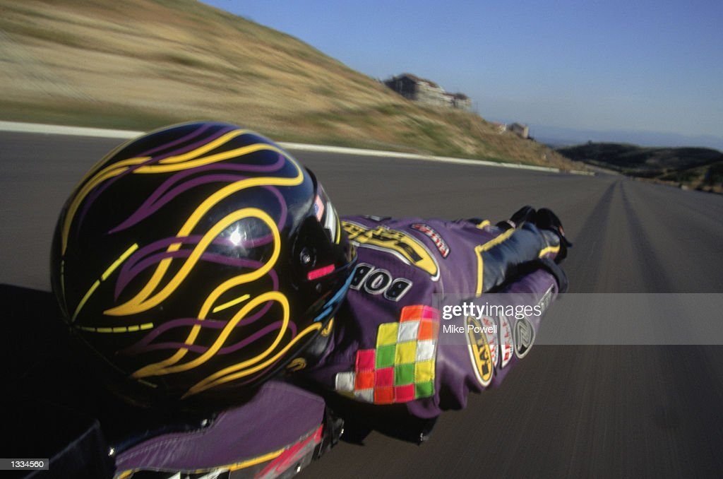 Street luge pilot Bob Pereyra as he gains speed on a course in Los Angeles, California on May 26, 1995.