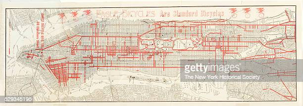 Street Map of Manhattan and the Bronx New York City 1900 Black and color ink on paper by Eagle Bicycle Manufacturing Company