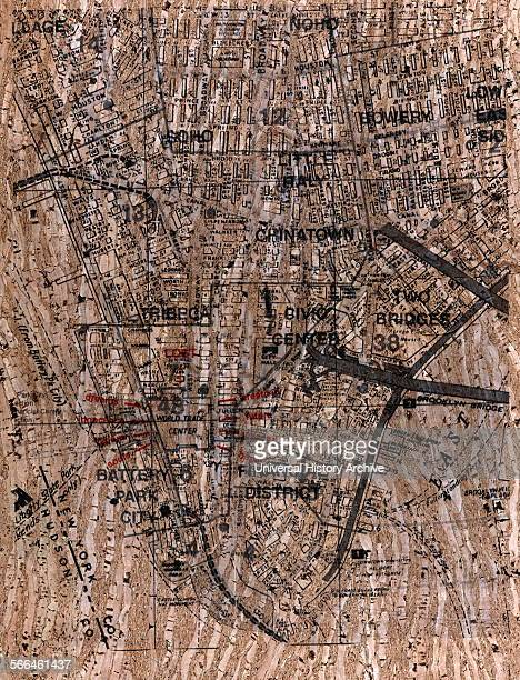 Street map showing the Ground Zero area of Lower Manhattan after the 9/11 attacks Created by René Levy Dated 2001